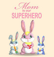 mother s day greeting card rabbit holding heart vector image