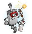 muffler cartoon character welding metal vector image