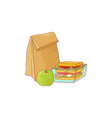 paper lunch bag and sandwich in plastic container vector image vector image