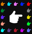 Pointing hand icon sign Lots of colorful symbols vector image