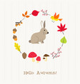 rabbit with autumn frame card vector image vector image