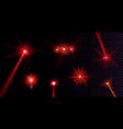 red flare lights glow flash beams lens effect vector image