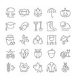 set flat line icons autumn vector image vector image