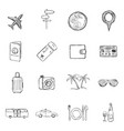 set sketch travel and vacation icons vector image vector image