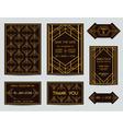 set wedding cards - art deco vintage style vector image vector image