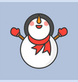 snowman with scarf and mitten gloves filled vector image vector image