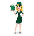 st patricks day woman in costume of leprechaun vector image