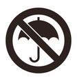 umbrella not allowed no sign vector image