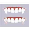 Vampire teeth with bloody fangs vector image