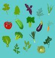 vegetables icons flat set isolated vector image
