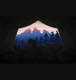 view from tent to mountains hiking and vector image