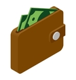 Wallet and money isometric icon vector image