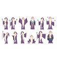 wizard mysterious male magician in robe spelling vector image vector image