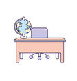 wood desk with chair and notebooks tools vector image