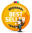 Best Seller Gold Medal with Business Man Isolated vector image
