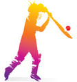 abstract colorful cricket player design vector image vector image