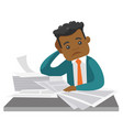 african businessman having a lot of paperwork vector image vector image