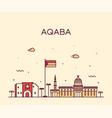 aqaba skyline sudan big city linear style vector image vector image