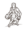 basketball players action cartoon graphic vector image