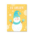 be merry snowman on poster vector image vector image