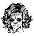 black and white skull girl with vector image vector image