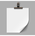 Blank sheet of paper with clamp vector image vector image