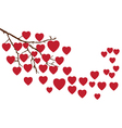 branch with hearts vector image vector image