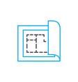 building plan thin line stroke icon vector image vector image
