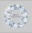 christmas greeting card with wreath of snowflakes vector image vector image