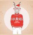 christmas hipster fashion animal rabbit vector image