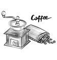 coffee beans in bag and grinder monochrome sketch vector image