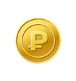coin icon russian ruble sign golden vector image