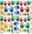 Diversity glossy hands up pattern vector image vector image