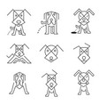 dog icons line art vector image vector image