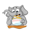 elephant he eats porridge with a spoon vector image vector image