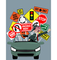 Enraged driver on the road vector image vector image