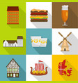 european hinterland icons set flat style vector image vector image