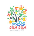Exotic summer bora bora travel logo