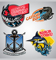 fishing badge design collection in colored vector image