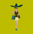 girl shopping with packages vector image vector image