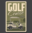 golf club green course and tee golf cart vector image