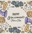 halloween sketch wreath card or banner template vector image vector image