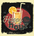 happy hour new age 50s vintage poster sign design