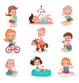 happy kids playing with toys set cute boys and vector image vector image