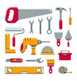 hardware industrial tools kit flat icons vector image vector image