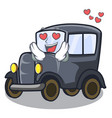 in love old cartoon car in side garage vector image vector image