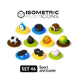 Isometric flat icons set 46 vector image