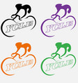 minimalist logo a cyclist abstract using vector image vector image