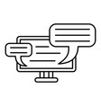 monitor chat icon outline style vector image vector image