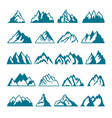 monochrome pictures set of different mountains vector image vector image